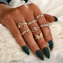 Fashion Rhinestone Inlaid Bow-knot Leaf Shaped Ring Set 7 pcs/Set