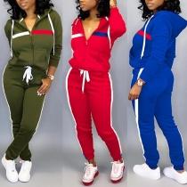 Fashion Solid Color Hooded Sweatshirt Coat + Pants Two-piece Set