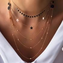 Fashion Star Pendant Multi-layer Necklace
