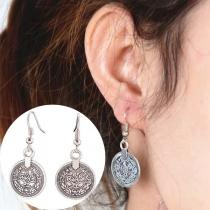 Retro Style Coin Pendant Stud Earrings