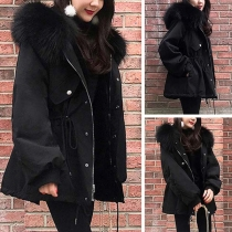 Fashion Faux Fur Spliced Hooded Drawstring Waist Padded Coat