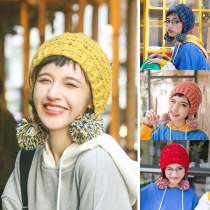 Cute Style Contrast Color Hairball Spliced Knit Beanies