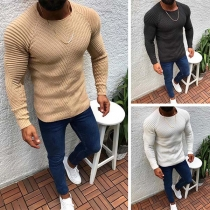 Simple Style Long Sleeve Round Neck Solid Color Man's Sweater