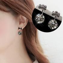 Sweet Style Rhinestone Inlaid Bow-know Shaped Stud Earrings