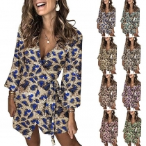 Sexy Deep V-neck Long Sleeve Leopard Printed Sequin Party Dress