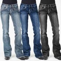 Fashion Middle-waist Slim Fit Jeans
