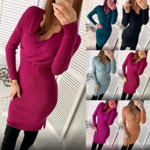 Fashion Solid Color Long Sleeve V-neck Slim Fit Knit Dress