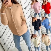 Fashion Solid Color Long Sleeve Round Neck Knit Cardigan