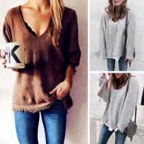 Fashion Solid Color Long Sleeve V-neck Tassel Hem Knit Top