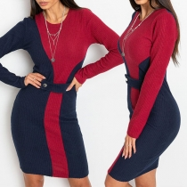 Fashion Contrast Color Long Sleeve Round Neck Slim Fit Dress