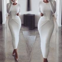 Elegant Solid Color Long Sleeve Round Neck Slim Fit Wrinkled Dress