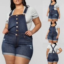 Fashion High Waist Slim Fit Ripped Denim Shorts Overalls