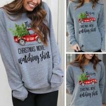 Fashion Long Sleeve Round Neck Letters Printed Sweatshirt