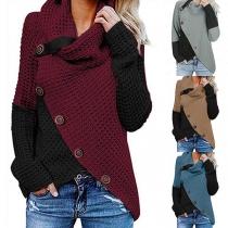 Fashion Contrast Color Cowl Neck Irregular Hem Front-button Knit Top