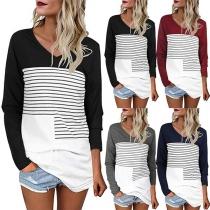 Fashion Contrast Color Long Sleeve V-neck Striped Spliced T-shirt