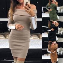 Sexy Off-shoulder Boat Neck Long Sleeve Slim Fit Dress