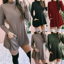 Fashion Solid Color Long Sleeve Stand Collar Front-pocket Dress