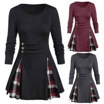Fashion Plaid Spliced Hem Long Sleeve Round Neck Dress