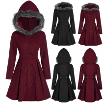 Fashion Solid Color Faux Fur Spliced Hooded Double-breasted Coat