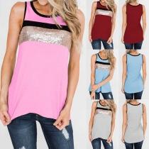 Fashion Contrast Color Sequin Spliced Slim Fit Tank Top