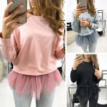 Fashion Solid Color Gauze Spliced Hem Round Neck Sweatshirt
