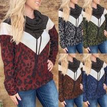 Fashion Long Sleeve Cowl Neck Leopard Printed Sweatshirt