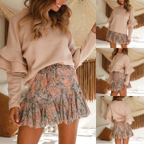 Sweet Style Lotus Sleeve Round Neck Solid Color Top