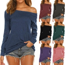 Sexy Of-shoulder Boat Neck Long Sleeve Solid Color T-shirt