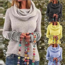 Fashion Printed Spliced Long Sleeve Cowl Neck Knit Top