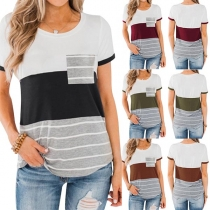 Fashion Contrast Color Striped Spliced Short Sleeve Round Neck T-shirt