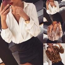 OL Style Long Sleeve POLO Collar Printed Shirt