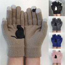 Fashion Contrast Color Cat Pattern Knit Gloves