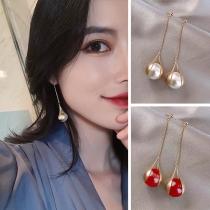 Fashion Imitation Pearl Pendant Tassel Earrings