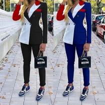 OL Style Contrast Color Blazer Coat + Suit Pants Two-piece Set