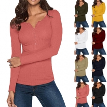 Sexy V-neck Long Sleeve Solid Color Slim Fit T-shirt