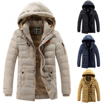 Fashion Solid Color Long Sleeve Detachable Hooded Man's Padded Coat