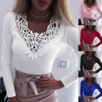 Sexy Lace Spliced V-neck Long Sleeve Solid Color Slim Fit T-shirt