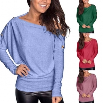 Fashion Solid Color Long Sleeve Boat Neck T-shirt