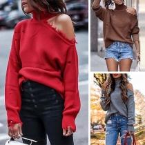 Sexy Off-shoulder Long Sleeve Turtleneck Solid Color Sweater