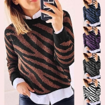 Fashion Long Sleeve Round Neck Striped Knit Top