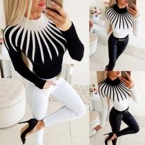 Fashion Contrast Color Long Sleeve Mock Neck Slim Fit Knit Top