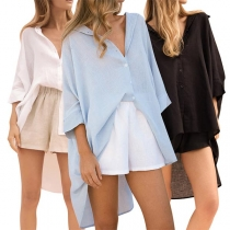Chic Style Long Sleeve High-low Hem Solid Color Shirt