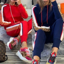 Fashion Contrast Color Printed Hoodie + Pants Sports Suit