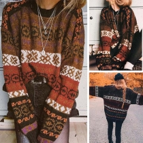 Fashion Dolman Sleeve Round Neck Printed Sweater
