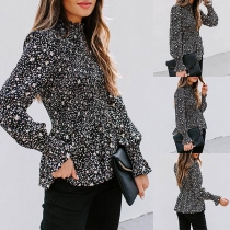 Fashion Long Sleeve Stand Collar Printed Blouse