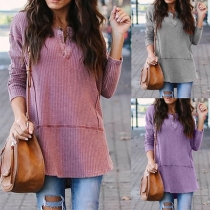 Simple Style Long Sleeve V-neck Solid Color Loose T-shirt