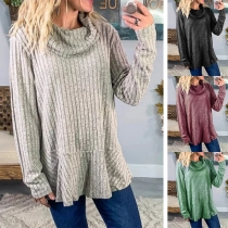 Fashion Solid Color Long Sleeve Cowl Neck Loose T-shirt