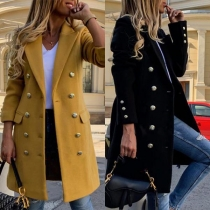 Fashion Solid Color Slim Fit Double-breasted Woolen Coat