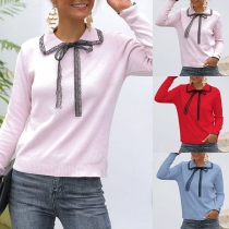 Sweet Style Lace Spliced Doll Collar Long Sleeve Knit Top