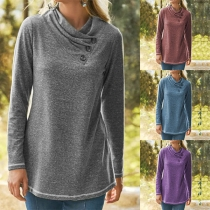 Fashion Solid Color Long Sleeve Wrinkled T-shirt